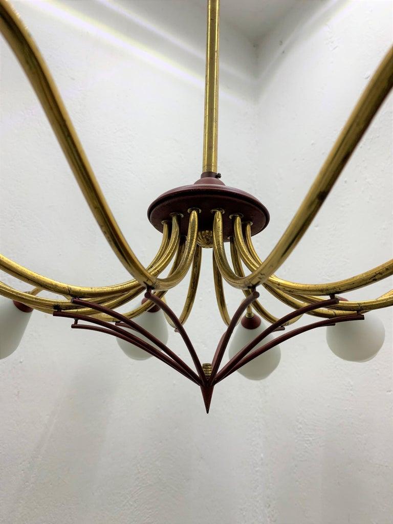 Mid-Century Modern Chandelier in Brass and Opaline Glass, Attributed to Stilnovo For Sale 8