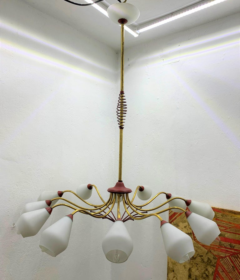 Mid-Century Modern Chandelier in Brass and Opaline Glass, Attributed to Stilnovo For Sale 13