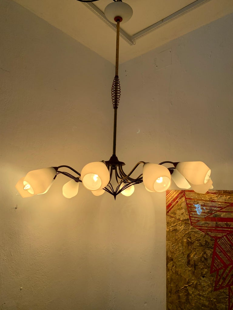 Mid-20th Century Mid-Century Modern Chandelier in Brass and Opaline Glass, Attributed to Stilnovo For Sale
