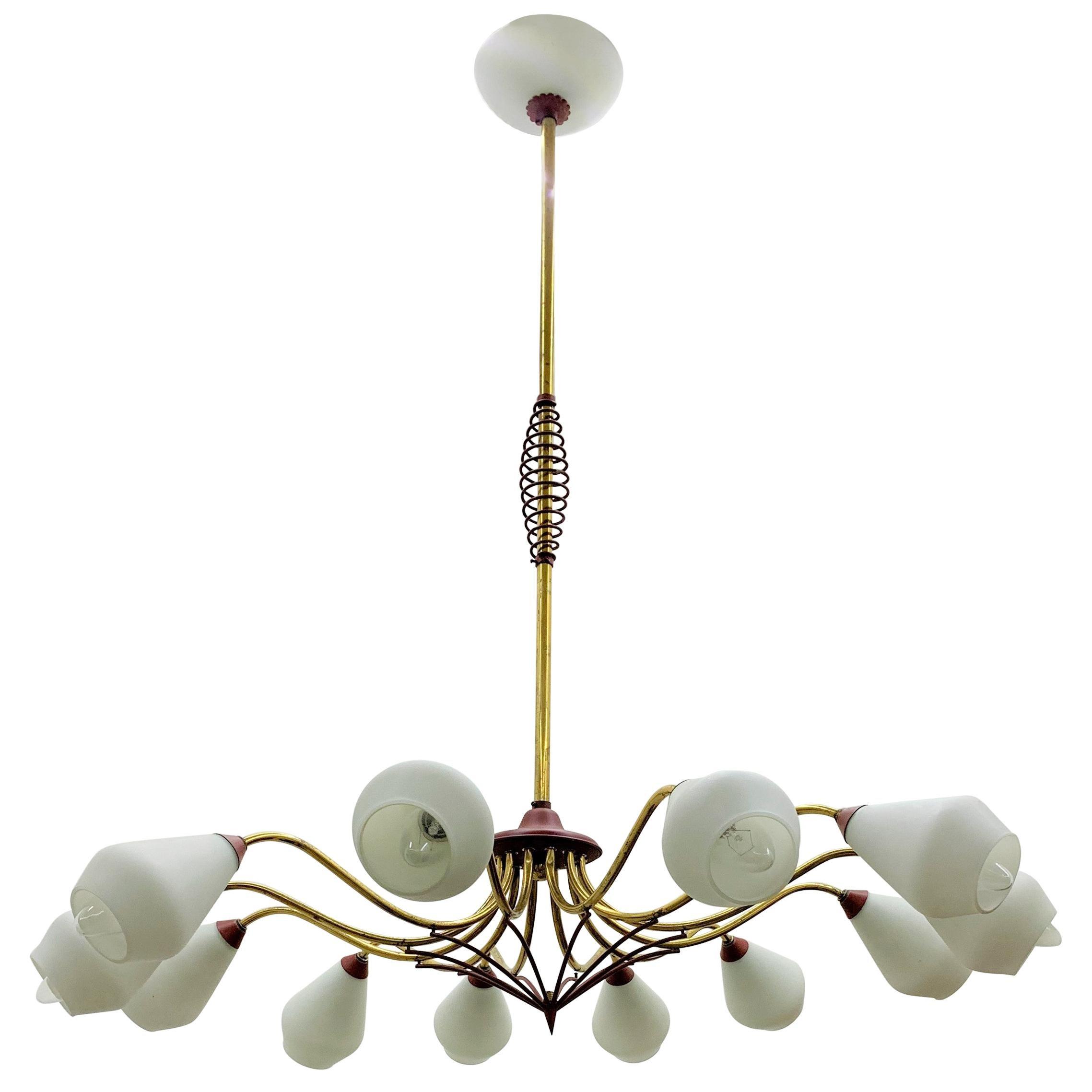 Mid-Century Modern Chandelier in Brass and Opaline Glass, Attributed to Stilnovo