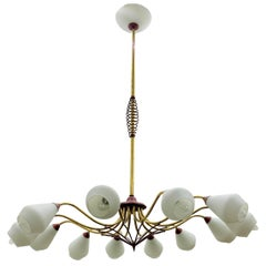 Mid-Century Modern Chandelier in Brass and Opaline Glass, Attributed to Stilnovo