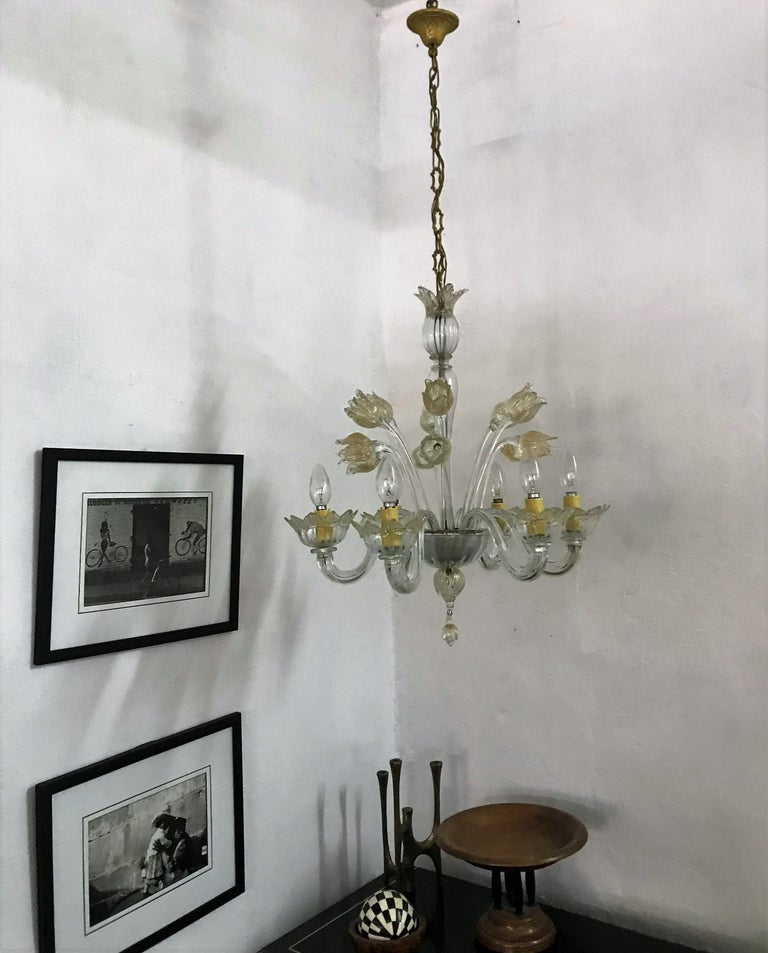 Mid-Century Modern Chandelier in Murano Glass, Attr. Barovier & Toso, circa 1950 For Sale 2