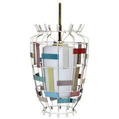 Mid-Century Modern Vintage Chandelier in the Style Mathieu Matégot France 1950s
