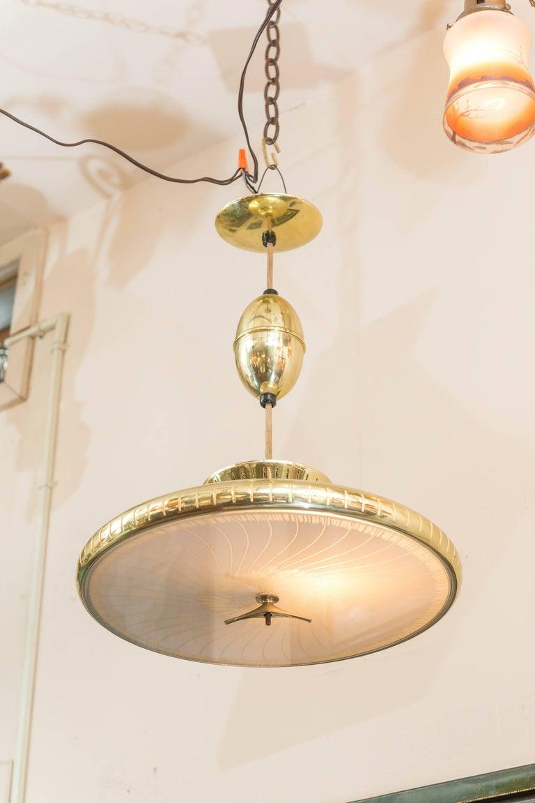 Brass Mid-Century Modern Chandelier or Pendant For Sale