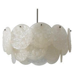 Mid-Century Modern Chandelier or Pendant Lamp with Textured Acrylic Discs, 1960s
