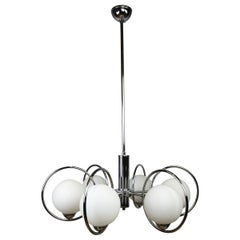 Mid-Century Modern Chandelier with Chrome Ring and Opaline Glass, 1970s, Europe