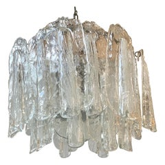 Mid-Century Modern Chandelier with Hanging Murano Glass Made in Italy