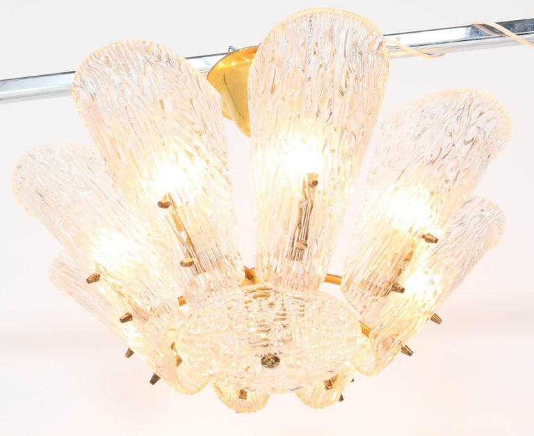 Mid-Century Modern Chandelier with Ice Glass by J.T. Kalmar Austria, 1950s For Sale 4