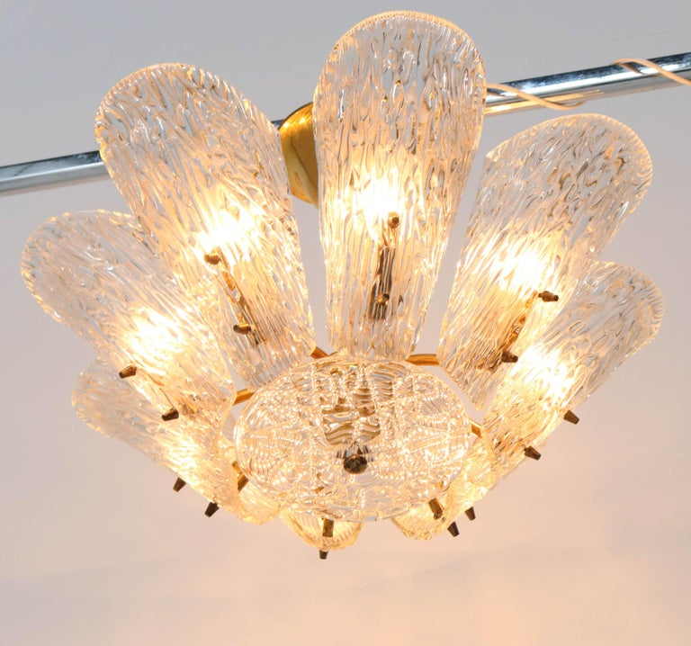 Mid-Century Modern Chandelier with Ice Glass by J.T. Kalmar Austria, 1950s For Sale 5