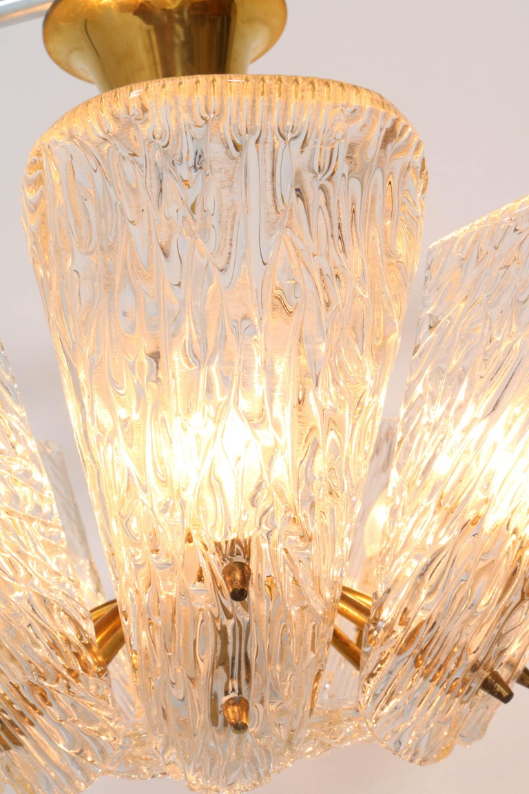 Mid-Century Modern Chandelier with Ice Glass by J.T. Kalmar Austria, 1950s For Sale 6