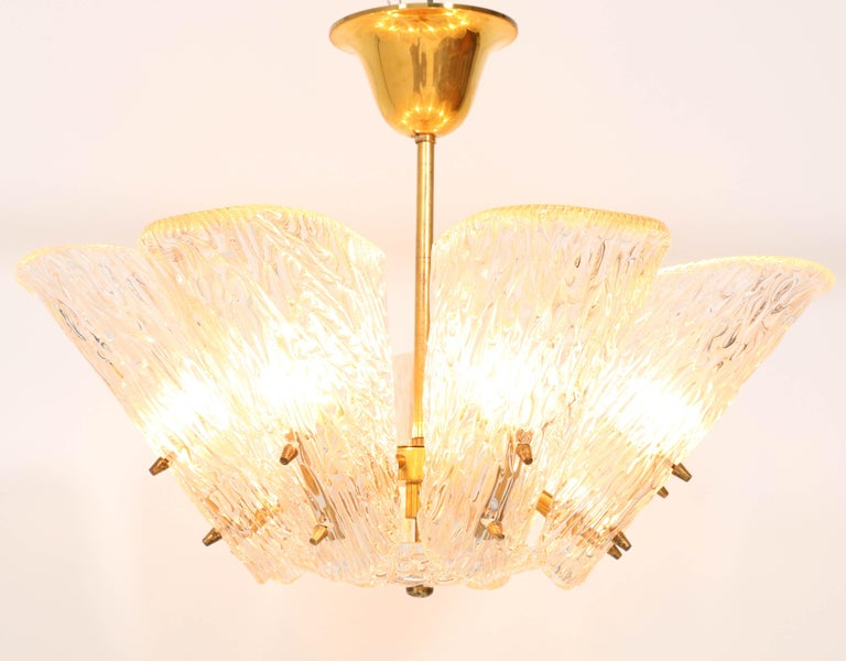 Mid-20th Century Mid-Century Modern Chandelier with Ice Glass by J.T. Kalmar Austria, 1950s For Sale