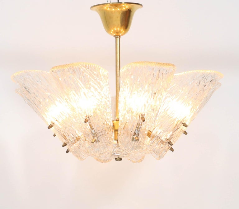 Mid-Century Modern Chandelier with Ice Glass by J.T. Kalmar Austria, 1950s For Sale 1