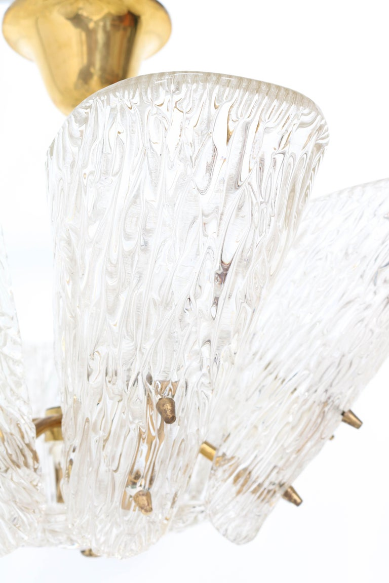 Mid-Century Modern Chandelier with Ice Glass by J.T. Kalmar Austria, 1950s For Sale 2