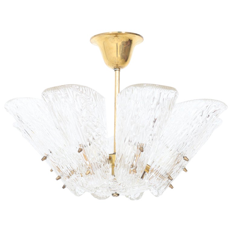 Mid-Century Modern Chandelier with Ice Glass by J.T. Kalmar Austria, 1950s For Sale