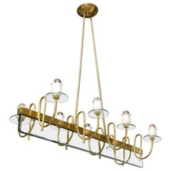 Mid-Century Modern Chandelier with Light Green Glass and Brass, Stilnovo Style