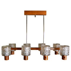 Mid-Century Modern Chandelier, Wood, Chrome and Glass, Scandinavian Style