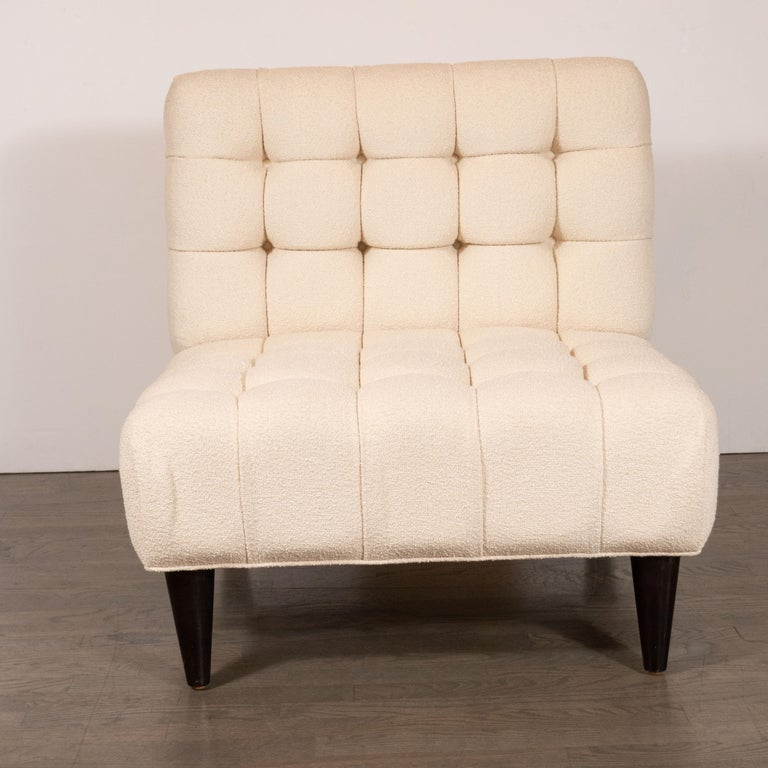 American Mid-Century Modern Channel Tufted Chair by Billy Haines in Cream Bouclé Fabric For Sale