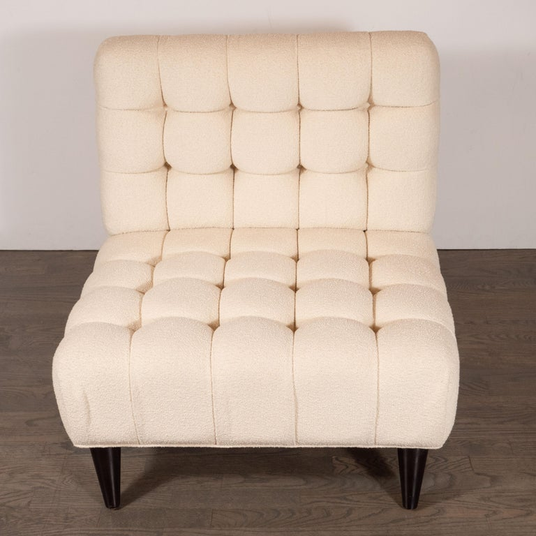Ebonized Mid-Century Modern Channel Tufted Chair by Billy Haines in Cream Bouclé Fabric For Sale