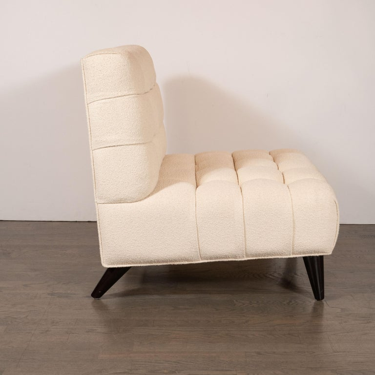 20th Century Mid-Century Modern Channel Tufted Chair by Billy Haines in Cream Bouclé Fabric For Sale