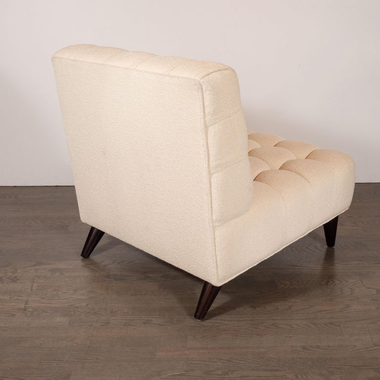 Walnut Mid-Century Modern Channel Tufted Chair by Billy Haines in Cream Bouclé Fabric For Sale