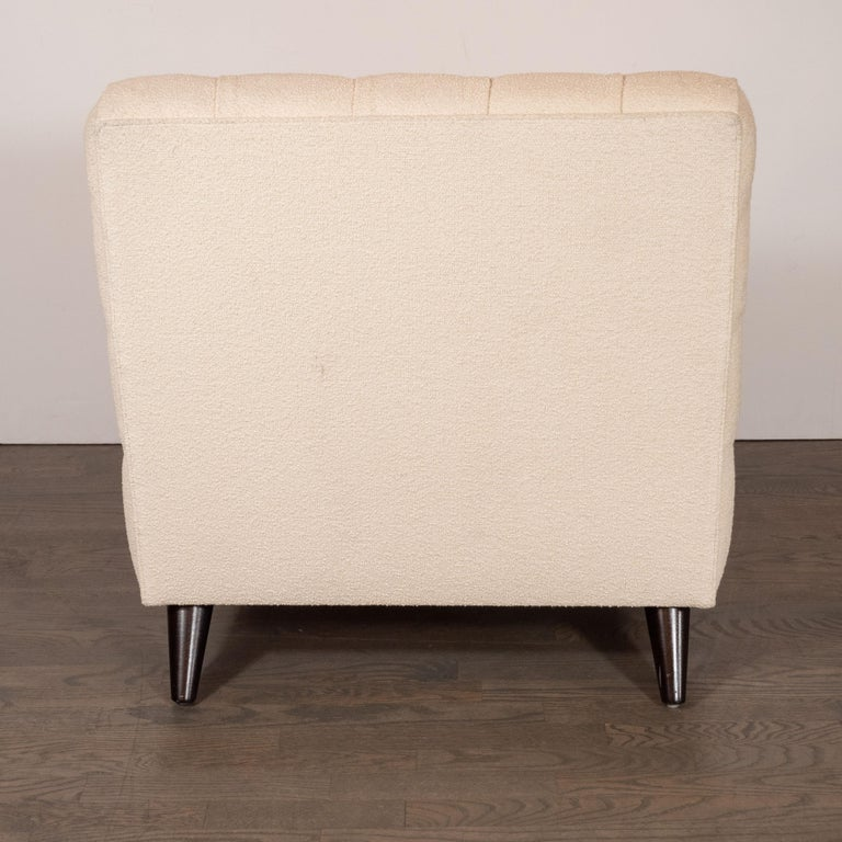 Mid-Century Modern Channel Tufted Chair by Billy Haines in Cream Bouclé Fabric For Sale 2