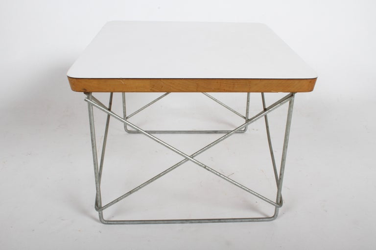 Mid-Century Modern Charles Eames for Herman Miller White Top LTR Tables In Good Condition For Sale In St. Louis, MO