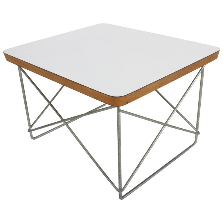 Mid-Century Modern Charles Eames for Herman Miller White Top LTR Tables For Sale