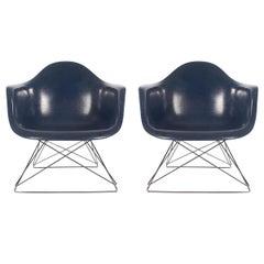 Mid-Century Modern Charles Eames Herman Miller Fiberglass Lounge Chairs in Navy