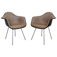 Mid-Century Modern Charles Eames Herman Miller Pair Fabric Shell Armchairs 1960s