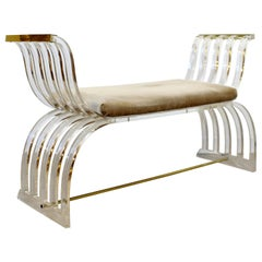 Mid Century Modern Charles Hollis Jones Angel Wings Lucite Brass Bench Seat 70s