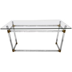 Mid-Century Modern Charles Hollis Jones Brass, Lucite and Glass Console or Desk