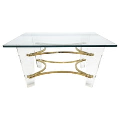 Mid-Century Modern Charles Hollis Jones Lucite and Brass Coffee Table