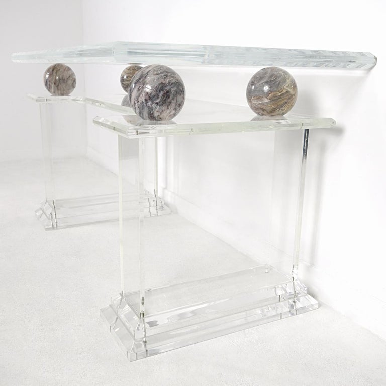 Mid-Century Modern Charles Hollis Jones Style Lucite Writing Table with Chair In Good Condition For Sale In Doornspijk, NL