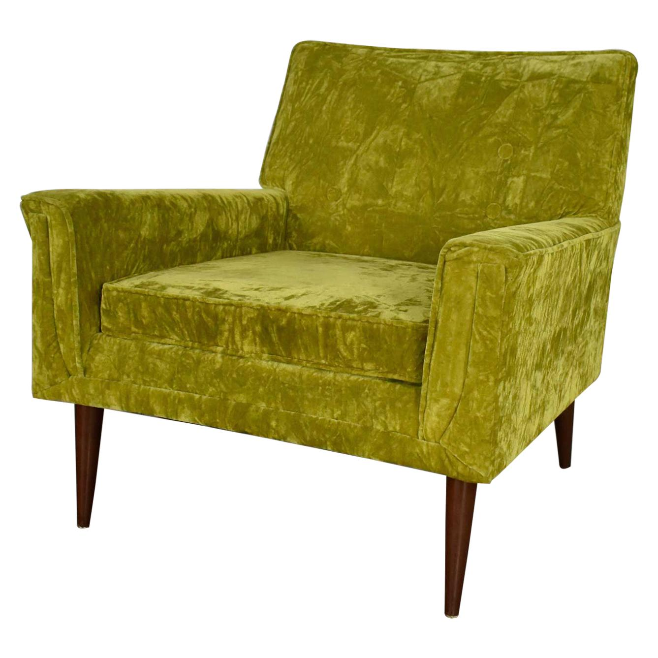 Mid-Century Modern Chartreuse Crushed Velvet Lounge Club Chair Style Paul McCobb