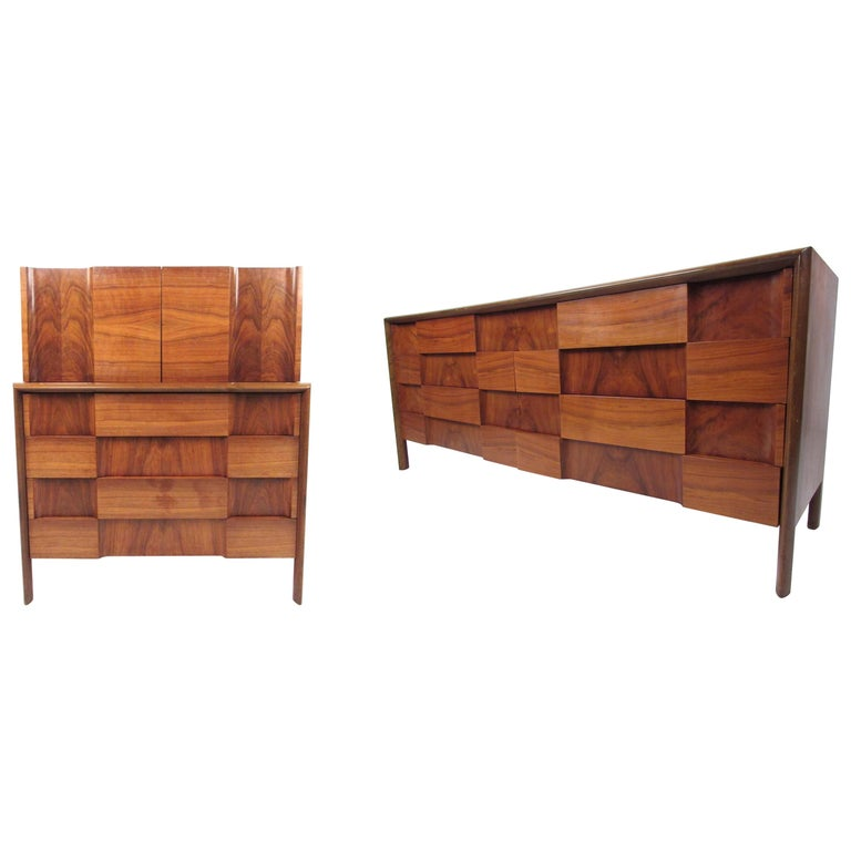 "Mid-Century Modern ""Checkerboard"" Dressers by Edmond Spence For Sale"