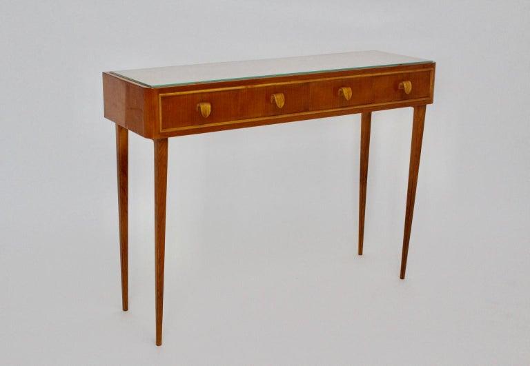 Veneer Mid-Century Modern Vintage Cherrywood Sideboard with drawers Italy, 1950s For Sale