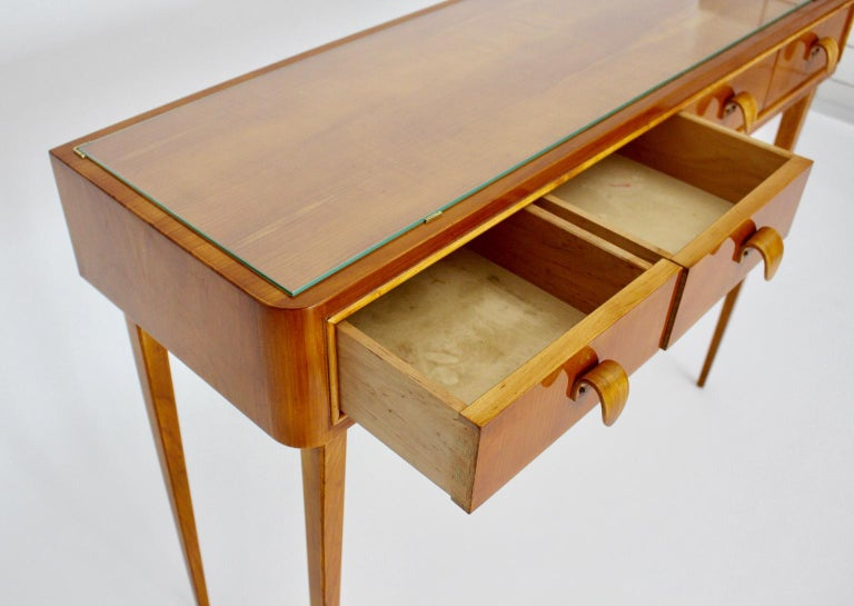 Brass Mid-Century Modern Vintage Cherrywood Sideboard with drawers Italy, 1950s For Sale