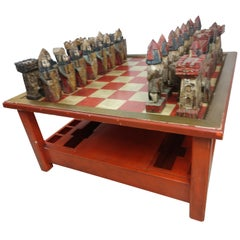Mid-Century Modern Chess Cocktail Table with Hand Carved Polychrome Figures 1965