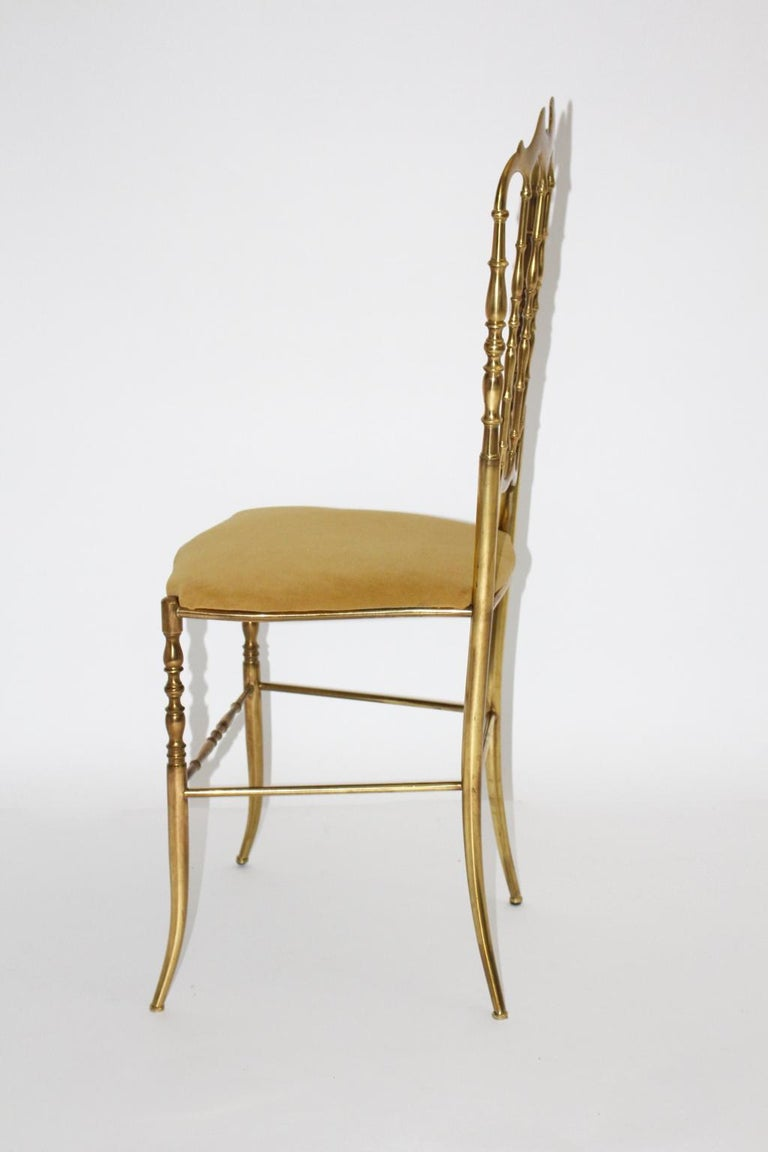 Italian Mid-Century Modern Chiavari Brass Vintage Side Chair, 1960s, Italy For Sale