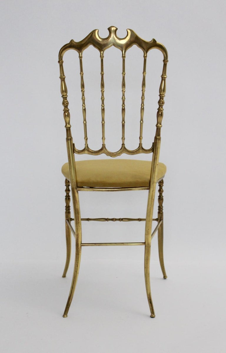 Mid-20th Century Mid-Century Modern Chiavari Brass Vintage Side Chair, 1960s, Italy For Sale