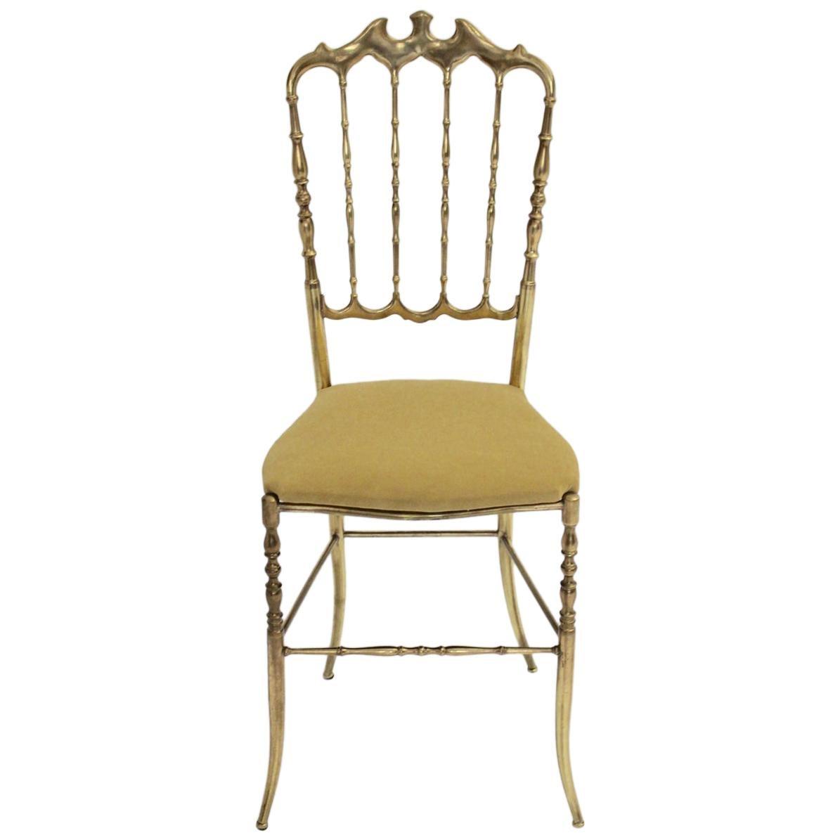 Mid-Century Modern Chiavari Brass Vintage Side Chair, 1960s, Italy