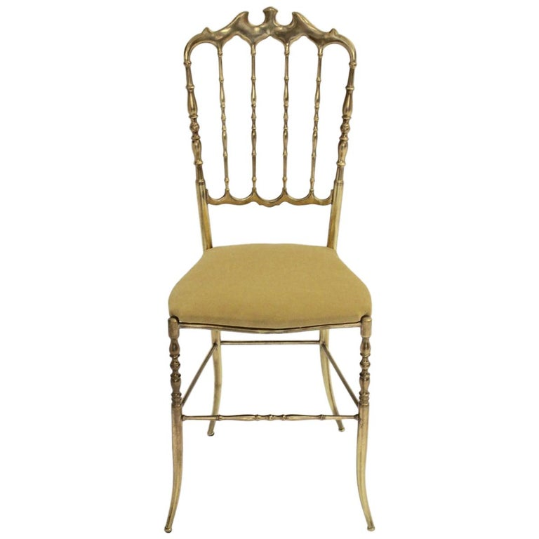 Mid-Century Modern Chiavari Brass Vintage Side Chair, 1960s, Italy For Sale