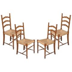 Mid-Century Modern Chiavari Set of Four Chairs Straw Seat in Walnut Wood Turned