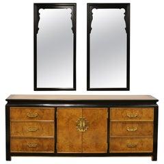 Mid-Century Modern Chin Hua Century Burl Brass Credenza Dresser Wall Mirrors