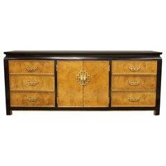 Mid-Century Modern Chin Hua Century Burl Wood and Brass Credenza Dresser, 1970s