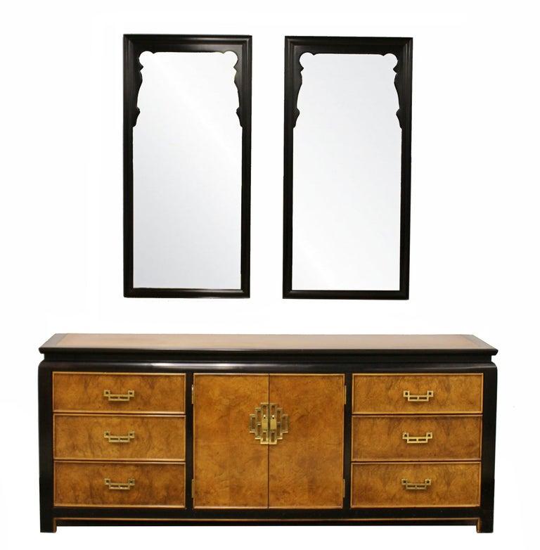 Mid-Century Modern Chin Hua Century Burl Wood and Brass Credenza Dresser, 1970s 6