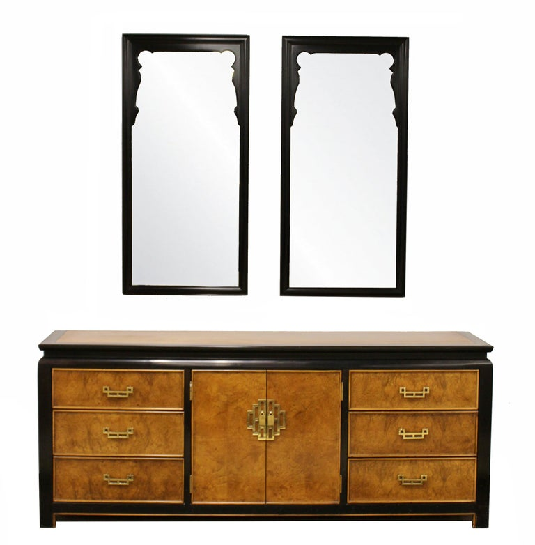 Mid-Century Modern Chin Hua Oriental Style Century Furniture Wall Mirrors, 1970s For Sale 1