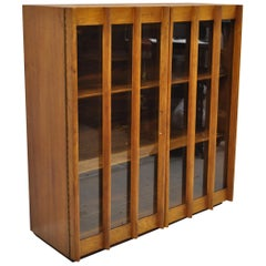 Mid-Century Modern China Cabinet Bookcase Hutch Top Sculptural Walnut Glass Door