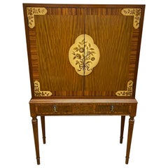 Mid-Century Modern China Cabinet Dry Bar with Floral Design