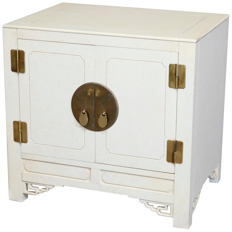 Mid-Century Modern Chinese Chippendale Ivory and Brass Wardrobe, circa 1970 For Sale